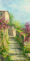 painted stairways - Framed ITALIAN PAINTING FLOWERING STAIRWAY TUSCANY HOME DECOR Pure Hand Painted Art oil painting Canvas Multi size YDL011