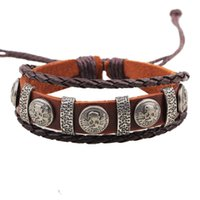 Wholesale Pirate Rope - Men's Pirates of the Caribbean Weave Leather Rope Wristband Fashionable Handwork Made Bracelets Jewelry Accessories