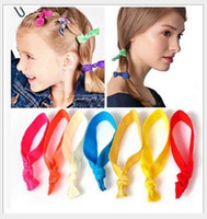 Wholesale Tie Ponytail Extension - 100 Pcs lot (20 Colors Option) New Knotted Ribbon Hair Tie Ponytail Holders Stretchy Elastic Headbands Kids Women Hair Accessory