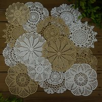 "Wholesale Cotton Square Crochet Tablecloth - Lot of 14 pcs crocheted doilies 8White 6Beige 6""- 7""-8""-9"", hand crochet tablecloth for wedding coaster Mats & Pads Set"