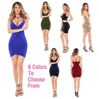 Wholesale Tight Fitted Pencil Dress - 2017 Fashion Sexy Vest Dress Women Summer Short Paragraph Package Hip Sling Dress Tight-fitting Ride Deep V Dress