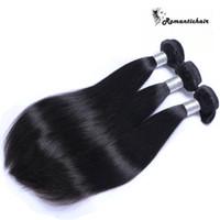 renk 32 saç örgüsü toptan satış-8A Perulu Malezya Hint Brezilyalı Bakire Saç Uzantıları Boyanabilir Doğal Renk Saç Demetleri Düz İnsan Saç Dokuma Çift Atkı