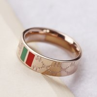 Wholesale Red Rose Wedding Gift - Hot Sale!!! Drip oil Red Green 6mm Wide Latest 18K Rose Gold Plated Ring For Lovers gift