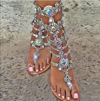 Wholesale Woman Shoes Size 43 - Crystal women sandal 2017 fashion summer women shoes Flip Flops sandals rhinestones gladiator sandals women shoes plus size 43