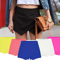 Wholesale Neon Yellow Shorts Women - Womens Wrap Mini Skorts Asymmetric Tiered Neon Culottes Shorts Short HOT shorts