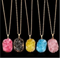 Wholesale Wholesale Fashion Druzy Jewelry - Fashion Natural Crystal Quartz Stone Gemstone Pendant Womens Irregular Necklace Druzy Healing Point Gold Edged Stones Pendants Jewelry