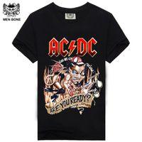 Wholesale Blue Dc Shirts - [Men bone] paragraph 9 cartoon rock crime men t-shirts AC DC hip hop fashion heavy metal t shirt