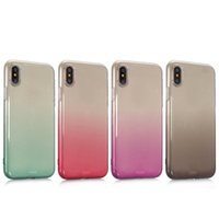 Rainbow Gradient Soft TPU Case pour Iphone X 5.8 '' Coloré Transparent à double couleur en caoutchouc Gel Silicone Transparent Cell Phone Back Skins Cover