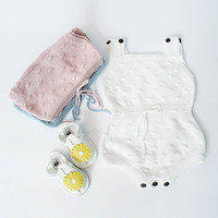 Wholesale Knitted Newborn Baby Clothes - Retail Newborn Infant Kids Baby Knitted Cotton Bodysuits Rompers Spring Autumn Jumpsuit Overalls Toddler Clothes 0-18M EG004
