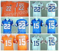 Wholesale Florida Gators Football - Men's Florida Gators College Jerseys 15 Tim Tebow Jersey 22 E.Smith Team Color Blue White Orange Stitched