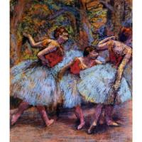 moderne ölgemälde blau groihandel-Moderne Gemälde Drei Tänzer, blaue Röcke, rote Blusen-Edgar Degas Kunst Öl auf Leinwand handbemalt