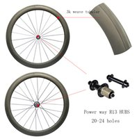Wholesale Road Bike Race Wheels - Road Carbon Tubular 50mm with power wayR13 R36 hubs carbon wheels 3K 1K weave Road Bike Super Light Racing Wheelset
