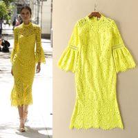 Wholesale Elegant Women Long Sleeve - 2017 New Spring Summer Women Elegant Yellow Lace Mermaid Dress Flare Sleeve Solid Color Long Trumpet Dresses High Quality