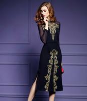 Wholesale Sleeved Gauze Dress - Europe women's 2017 new winter long sleeved dress slim long gauze embroidery sexy slit skirt