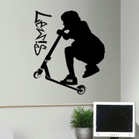 Wholesale Great Wall Decals - Hot Sale Great Trick Scooter Personalized Vinyl Wall Stickers Bedroom Living Room Bedroom Home Decor Art Diy