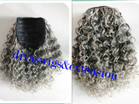 Wholesale Natural Hair Ponytail Piece - 100% real hair gray puff afro ponytail hair extension clip in Remy afro kinky curly drawstring ponytails grey hair piece 120g