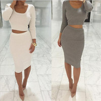 Wholesale Sexy Plus Clubwear - Bodycon Dress Women Solid Color Sexy Crop Top Party Dresses Female Clubwear Slim Vestidos Fall 2017 Fashion Plus Size Dress
