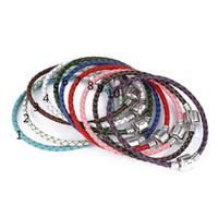 Wholesale Multi Color Beaded Bracelets - 3mm leather rope foundation bracelet, square buckle, Europe and America big pearl jewelry, beaded bracelet, 17cm-21cm multi-color