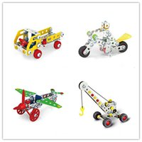 Wholesale Toy Crane Ship - Cool DIY 3D Assembly Metal Engineering Vehicles Model Kits Toy Car Crane Motorcycle Truck Airplane Building Puzzles Construction Play Set
