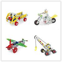 guindaste de brinquedo de construção venda por atacado-Legal DIY Montagem 3D Metal Engenharia Veículos Modelo Kits Toy Car Crane Motorcycle Truck Avião Edifício Puzzles Construção Play Set