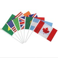 Wholesale Office Usa Wholesale - Table Mini Flags Banner 100% Polyester Plastic Poles USA United Kingdom Australia Flags Hand Waving Small Flags Banner for Party Club Office