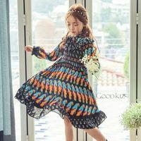 Wholesale Long Sleeve Korean Maxi Dress - New Spring Autumn Fashion Korean Girls Printed puff sleeve Dresses long Maxi Dress cute Chiffon Casual Beach Dresses Children Clothes A161