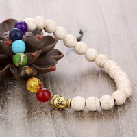 neuer buddha-ring großhandel-Europäische frauen und männer naturstein perlen armbänder neue 7 farben buddha stränge armbänder schmuck zubehör