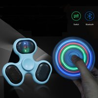 Wholesale Lighted Novelty Toys - LED Light Up Speaker Spinner Blue Tooth Music Player Hand Spinner with TF Card Rechargeable Battery EDC Anti-stress ADHD Novelty Toys