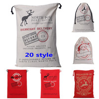 Wholesale Elk Clothes - Christmas Halloween Gifts Bags Drawstring Canvas Santa Sack Environmental Reindeers Gifts Bags Elk Handbags Canvas Bags 50*70cm WX-B09
