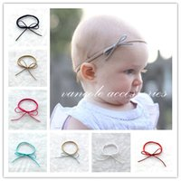 Wholesale Suede Headbands - Wholesale- Newborn, Baby Girl Non-woven Flower Bows Baby Girl Suede leather bow nylon headband Hair Accessories