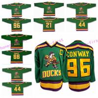Wholesale Reeds Throwback Jersey - Anaheim Mighty Ducks Movie Jersey 1993-94 Throwback Ice Hockey 96 Charlie Conway 66 Gordon Bombay 21 dean portman 44 Reed Vintage Green