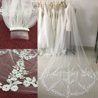 Wholesale Train Meters - Vintage White Bridal Veils Lace Applique Edge Cheap Wedding Veils 3 Meters Bridal Accessories Chapel Train With Comb CPA886