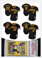 Wholesale Pittsburgh Pirates Authentic Jersey - Mitchell & Ness Pittsburgh Pirates #21 Roberto Clemente #22 Andrew McCutchen 1982 Cooperstown Collection Authentic stitched Practice Jersey