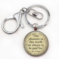 Wholesale Pleasures Women - PRIDE AND PREJUDICE Quote key ring - Jane Austen - Our Pleasures in this world.... Romantic Pendant Jewerly Handmade Keychain