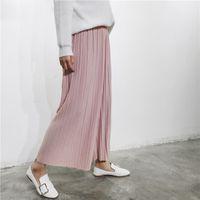 Wholesale Korean Chiffon Pants - 2017 New Spring Korean high waist pleated loose women's casual pants nine points chiffon wide leg pants trousers
