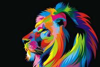 pinturas a óleo animais abstratos venda por atacado-Frete grátis! Pinturas A Óleo Da Lona Abstrata Leão Colorido Animais Wall Art Home Decor Pictures Retratos Da Parede Para Sala de estar