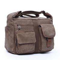 Wholesale Men S Messenger Handbag - Wholesale- 2016 new canvas bag handbag women oblique satchel bags men messenger bag shoulder bag crossbody more sturdy and durable S-30