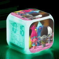 Wholesale Doll Clock - .Hot Sales 34style Trolls Movie LED light alarm clocks Trolls PVC Figures Doll Branch Toy Trolls Biggie Party Decorations toy 20pcs WD175AA