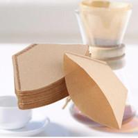 Wholesale Paper Coffee Filters - 40pcs bag Coffee Filter Packs Tea Bag Infuser Wooden Hand Drip Paper Coffee Filter Tea Bag Strainer Green Tea Infuser KKA3427