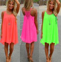 Wholesale Pink Sundress L - Casual Dresses Women Beach Mini Dress Summer Dress Chiffon Women Dress Summer Style Vestido De Festa Sundress Plus Size Women Clothing