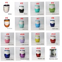 Wholesale Shape Glass Cup - 16 colors Egg shaped Cups 9 oz Stemless Beer Wine Glass Cup Stainless steel Powder Coated Wine mugs with Lid in stock