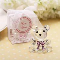 pajarita baby shower al por mayor-Hermoso oso de cristal con pajarita y caja de regalo colorida Recuerdos Baby Birthday Shower Gift DT12