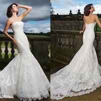Wholesale Mermaid Scallop Dresses - Dramatic Lace Fishtail Bridal Gown Fitted With Scallop Neckline And Buttons Down The Back Lace Applique Mermaid Wedding Dresses