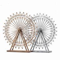 ingrosso decorazioni in ferro battuto-Real Promozione Handmade in ferro battuto in metallo Ferris Wheel statua Grande esposizione Ornamenti da tavolo per soggiorno di decorazione domestica