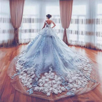 Wholesale cathedral wedding dresses blue - Amazing 3D Appliques Wedding Dresses 2018 Ice Blue Peplum Cathedral Train Bridal Gowns Custom Made Tulle Layers Wedding Vestidos
