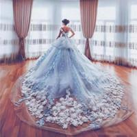 eisblau tüll kleid großhandel-Erstaunliche 3D Appliques Brautkleider 2018 Ice Blue Peplum Kathedrale Zug Brautkleider Maßgeschneiderte Tüll Schichten Hochzeit Vestidos