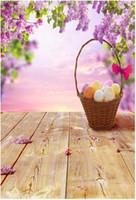 Wholesale Photography Backdrops For Kids - Happy Easter Photography Backdrops Wood Floor Colorful Eggs Basket Purple Flower Blossoms Kids Children Photo Backgrounds for Studio