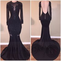 Wholesale Stretch Dresses Sexy - Vestidos Black Illusion Prom Dresses 2017 Sexy Backless Mermaid Long Sleeves Stretch Long Evening Party Gowns with Appliques Beaded
