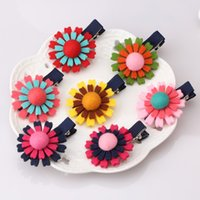 цветочные клипы оптовых-Wholesale- Newly Style Double Non-woven Hairpins Baby Fashion Sun Floral Hair Accessories 5cm Length With Button Lovely Girl Hair Clip