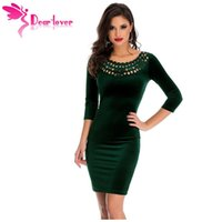 Wholesale Velours Dress - Office Ladies Sheath Dress Dark Green Hollow Out Round Neck Sleeved Velvet Dress Female Vestidos Robe Velours LC22925 17410